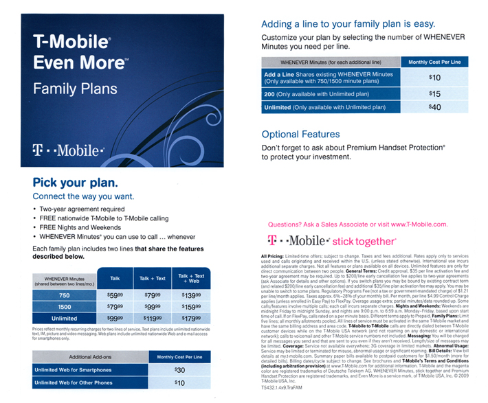 T mobile rate plans at wireless toyz sprint rate plans for Spring family plans